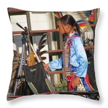 Throw Pillow featuring the photograph At Blackfeet Pow Wow 03 by Ausra Huntington nee Paulauskaite