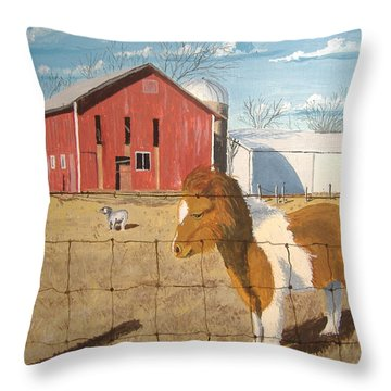 Throw Pillow featuring the painting At Home by Norm Starks
