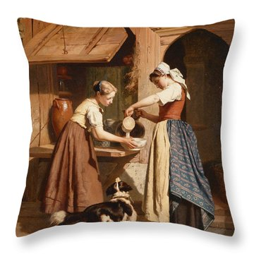 At The Dairy Throw Pillow by Theodore Gerard