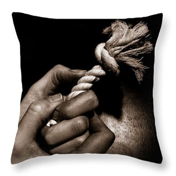 At The End Of My Rope Throw Pillow