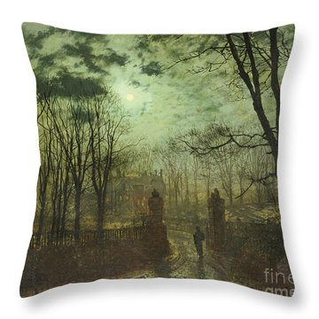 At The Park Gate Throw Pillow by John Atkinson Grimshaw