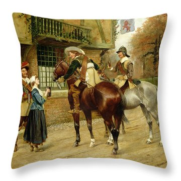 At The Red Inn Throw Pillow by George Derville Rowlandson