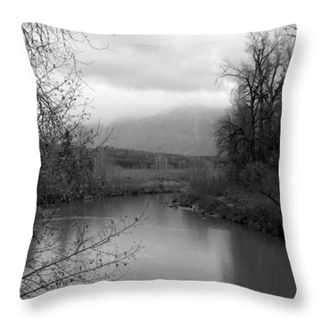 Throw Pillow featuring the photograph At The River Turn Bw by Kathleen Grace