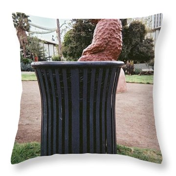 Throw Pillow featuring the pyrography At The Tar Pits by Lola Connelly