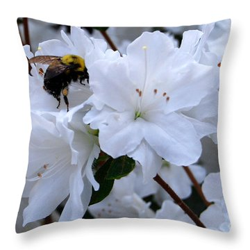 At Work In The Garden Throw Pillow by Linda Mesibov