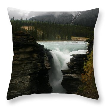 Athabasca Falls Jasper National Park Throw Pillow