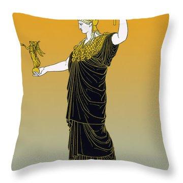 Athena, Greek Goddess Throw Pillow by Photo Researchers