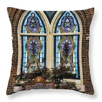 Athens Alabama First Presbyterian Church Stained Glass Window Throw Pillow by Kathy Clark