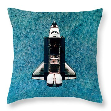 Atlantis Space Shuttle Throw Pillow by Science Source