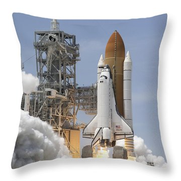 Atlantis Twin Solid Rocket Boosters Throw Pillow by Stocktrek Images