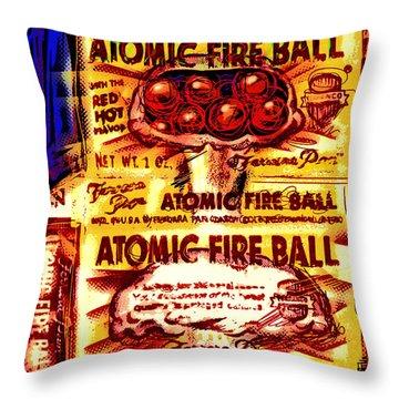 Atomic Fire Ball Throw Pillow