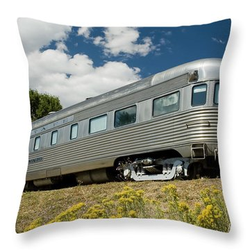 Atsf Train And Flowers Throw Pillow by Tim Mulina