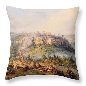 Attack On Stocks Kraall In The Fish River Bush Throw Pillow by Thomas Baines