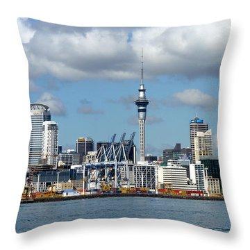 Auckland Skyline Throw Pillow by Carla Parris