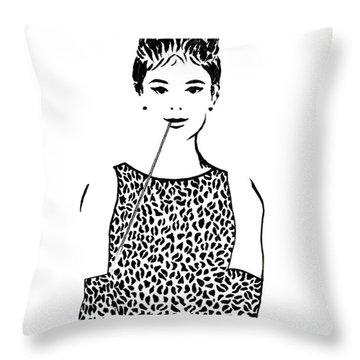 Audrey Hepburn Throw Pillow by Georgeta  Blanaru