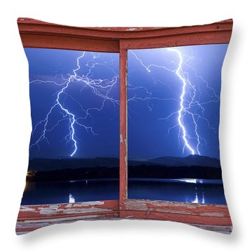 August 5th Lightning Storm Red Picture Window Frame Photo Art Throw Pillow by James BO  Insogna