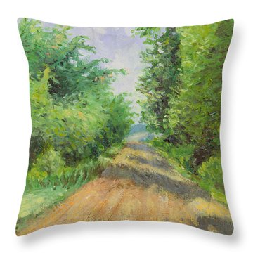 Throw Pillow featuring the painting August Lane by Joe Winkler