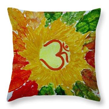 Aumkar Mandala Throw Pillow by Sonali Gangane