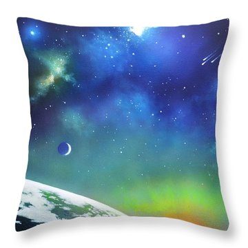 Auroa Borealis From Space Throw Pillow