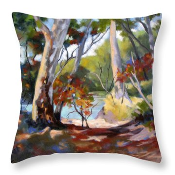 Throw Pillow featuring the painting Australia Revisited by Rae Andrews