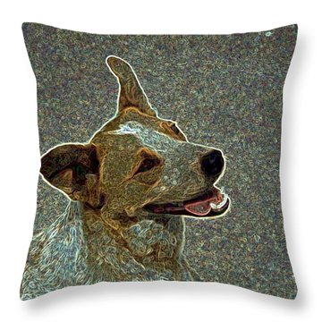 Australian Cattle Dog Mix Throw Pillow by One Rude Dawg Orcutt