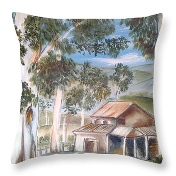 Throw Pillow featuring the painting Australian Outback Cabin 2 by Roberto Gagliardi