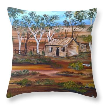 Throw Pillow featuring the painting Australian Outback Cabin by Roberto Gagliardi