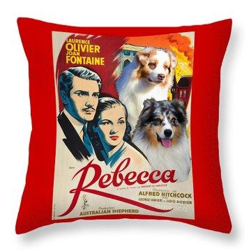 Australian Shepherd Art - Rebecca Movie Poster Throw Pillow