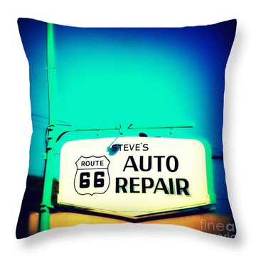 Auto Repair Sign On Route 66 Throw Pillow by Susanne Van Hulst