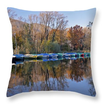 autum at the Lake Maggiore Throw Pillow by Joana Kruse