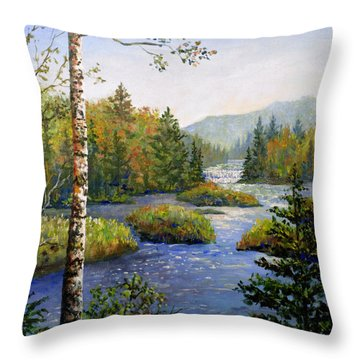 Throw Pillow featuring the painting Autum In Michigan by Lou Ann Bagnall