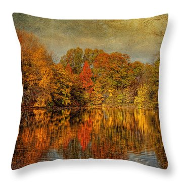 Autumn - Landscape - Tamaques Park - Autumn In Westfield Nj  Throw Pillow by Mike Savad