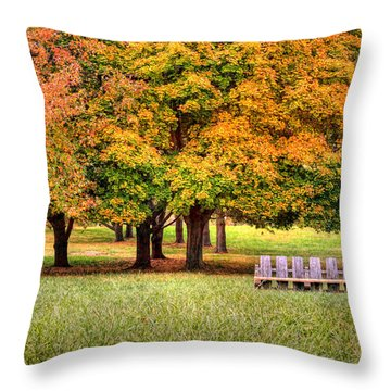 Autumn And A Bench Throw Pillow