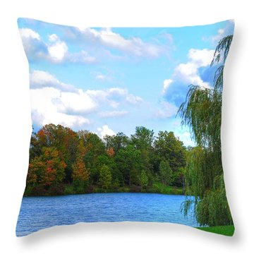 Throw Pillow featuring the photograph Autumn At Hoyt Lake by Michael Frank Jr