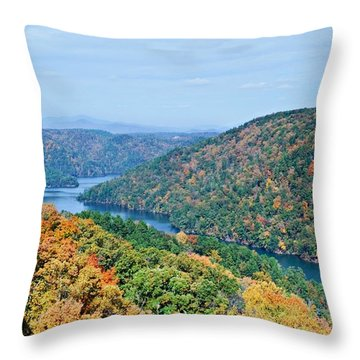 Throw Pillow featuring the photograph Autumn At Lake Tugalo by Susan Leggett