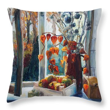 Autumn At The Kitchen Window Throw Pillow by Barbara Pommerenke