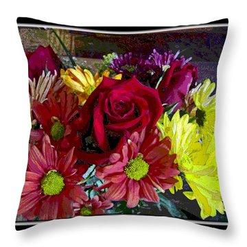 Throw Pillow featuring the digital art Autumn Boquet by Debbie Portwood