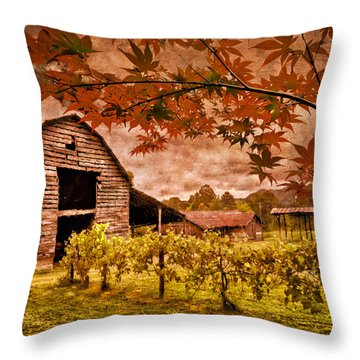 Autumn Cabernet Throw Pillow by Debra and Dave Vanderlaan