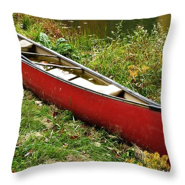 Autumn Canoe Throw Pillow by Thomas R Fletcher
