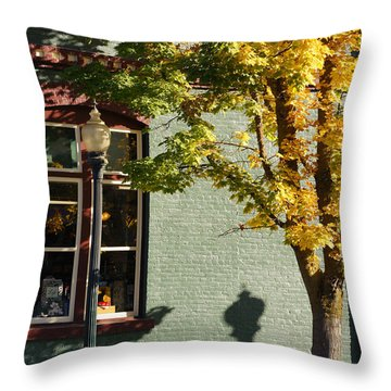 Autumn Detail In Old Town Grants Pass Throw Pillow by Mick Anderson