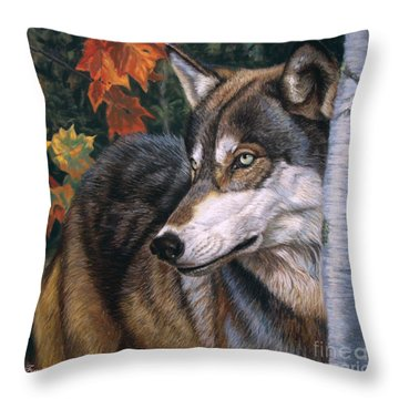 Autumn Eyes Throw Pillow by Deb LaFogg-Docherty