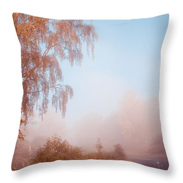 Autumn Fairytale. Misty Roads Of Scotland  Throw Pillow by Jenny Rainbow