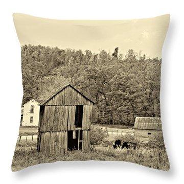 Autumn Farm Sepia Throw Pillow by Steve Harrington