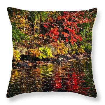 Autumn Forest And River Landscape Throw Pillow by Elena Elisseeva
