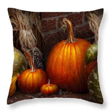 Autumn - Gourd - Family Get Together Throw Pillow by Mike Savad