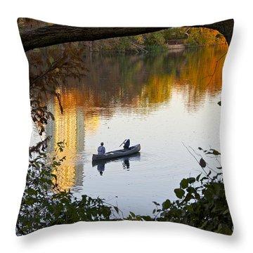 Autumn Idyll On Lake Austin Throw Pillow by Sean Griffin