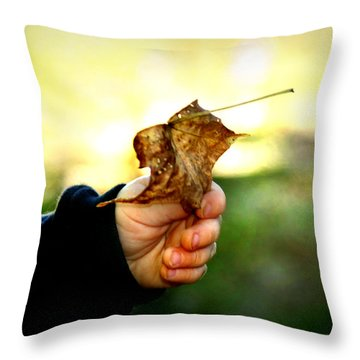 Autumn In Hand Throw Pillow by Kelly Hazel