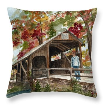 Throw Pillow featuring the painting Autumn In Knoebels Grove  by Nancy Patterson