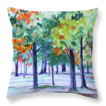Autumn In The Park Throw Pillow by Jan Bennicoff
