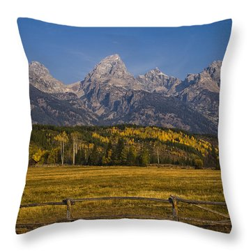 Autumn In The Tetons Throw Pillow by Andrew Soundarajan